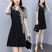 襯衫連身裙 洋裝中大尺碼L-5XL氣質顯瘦收腰遮肚減齡拼接連身裙R030-C.2649 1號公館