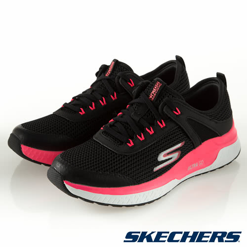 SKECHERS GO RUN STEADY 女鞋 慢跑 健走 輕量 避震 透氣 黑 螢光粉【運動世界】16030BKHP
