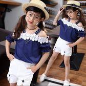 新款韓版女童裝秋季短袖兩件套PLL2511【男人與流行】