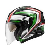 【ZEUS 瑞獅 ZS 613B AJ6 珍珠黑綠 3/4罩 安全帽 】內襯全可拆洗、免運費