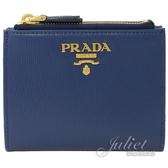 茱麗葉精品【全新現貨】PRADA 1ML024 浮雕LOGO水波紋雙拉鍊對開扣式短夾.深藍