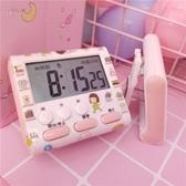 粉色可愛迷你鬧鐘電子計時器電子鬧鐘表台鐘看時間桌面道具擺件 夢幻衣都