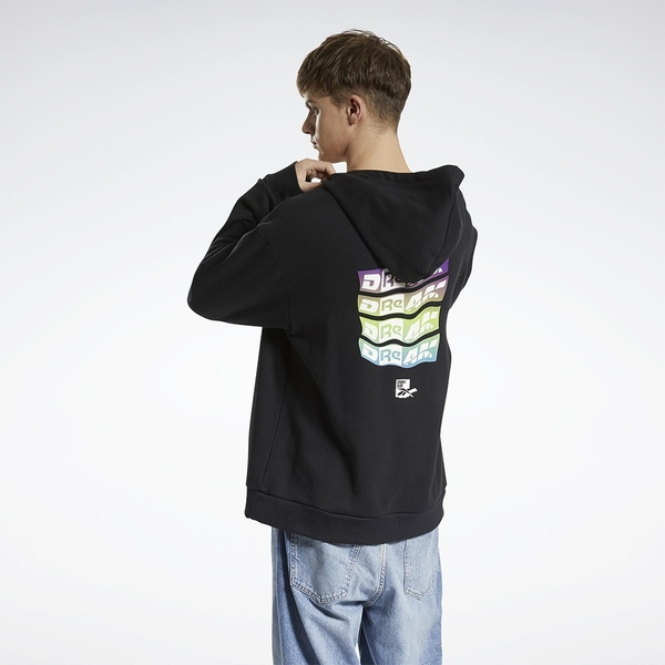 REEBOK X BLACK EYE PATCH 男裝 女裝 長袖 帽T 聯名 休閒 袋鼠口袋 棉質 黑【運動世界】GT4624