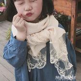 超美膩 春秋女童甜美公主褶皺棉麻圍巾兒童冬季小孩蕾絲絲巾薄解憂雜貨鋪