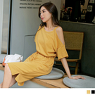 《DA7829-純色高含棉微性感露肩收腰綁帶洋裝 OB嚴選