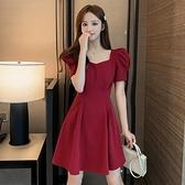 泡泡袖洋裝 2021年夏季新款法式方領泡泡袖性感露背氣質連身裙女桔梗紅色裙子 嬡孕哺