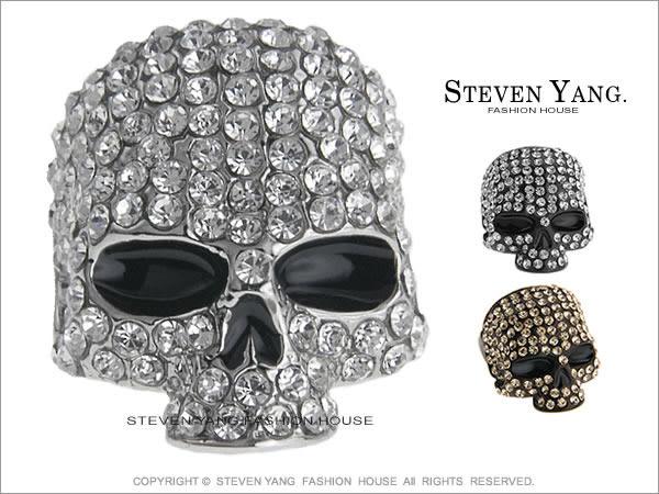 戒指STEVEN YANG正白K飾 骷髏頭嘻哈個性 銀色款 小豬羅志祥