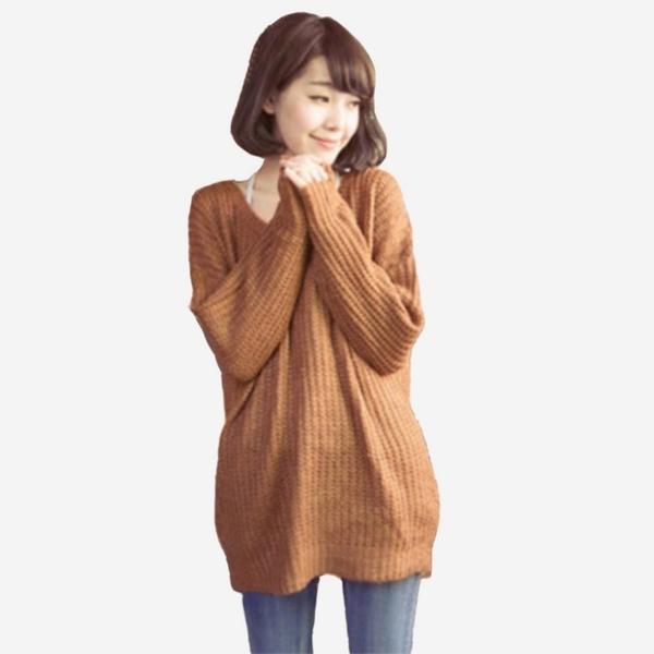 寬鬆慵懶感圓領長袖粗針中長版毛衣 (卡其 米白) 11612021