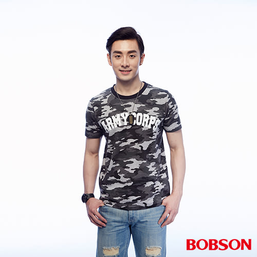 BOBSON 男款迷彩印圖上衣(25014-42)