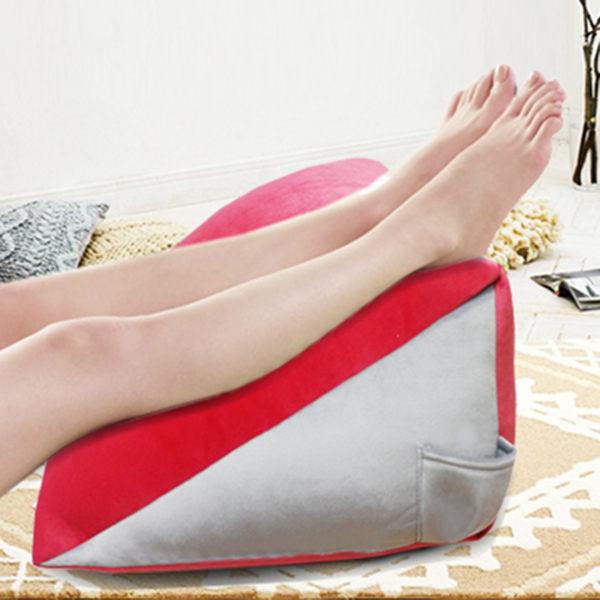 抬腿枕 三角靠枕 蜜絲絨記憶抬腿枕 抗菌纖維 記憶型 抬腿枕 (紅) GLORIA葛蘿莉雅