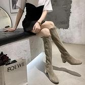 快速出貨 長靴顯瘦百搭時裝馬丁靴女夏季薄款絨面粗跟套腳不過膝長筒女靴