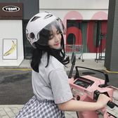 電動摩托車頭盔可愛機車半覆式雙鏡片防紫外線哈雷盔igo      蜜拉貝爾