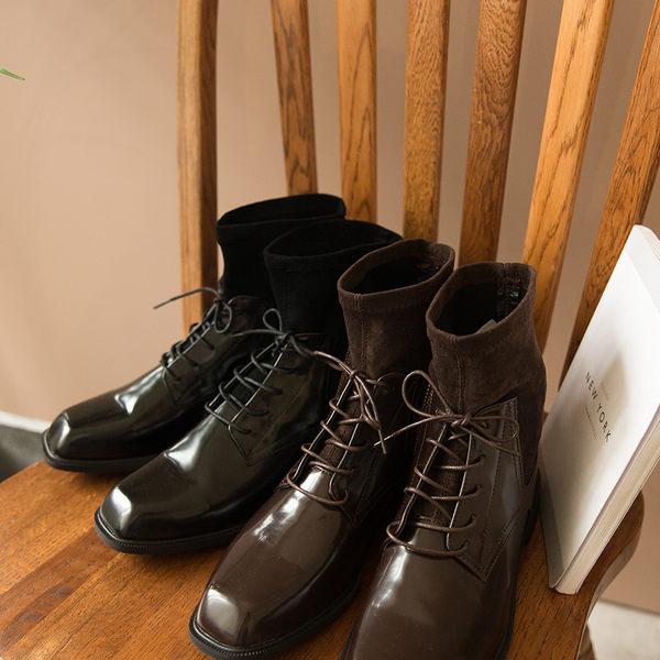 ★秋裝上市★MIUSTAR 設計感方頭麂皮拼接襪套式綁帶皮革短靴(共2色,35-39)【NG001766】預購