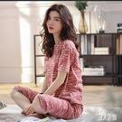 棉質睡衣女夏短袖七分褲夏季薄款韓版甜美大碼T恤家居服兩件套裝 LR23940『麗人雅苑』