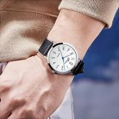 手錶 韓版時尚簡約休閑大氣潮流手表男學生防水真皮帶超薄男士表石英表