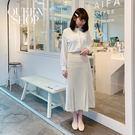 Queen Shop【03020526  】造型打摺雪紡中裙 兩色售 S/M*現+預*