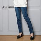 顯瘦--氣質浪漫口袋貼鑽花邊刺繡優雅金蔥裝飾線彈性直筒牛仔褲(藍M-3L)-C91眼圈熊中大尺碼