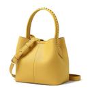 素色時尚編織帶桶型斜背手提包(楓葉黃)...