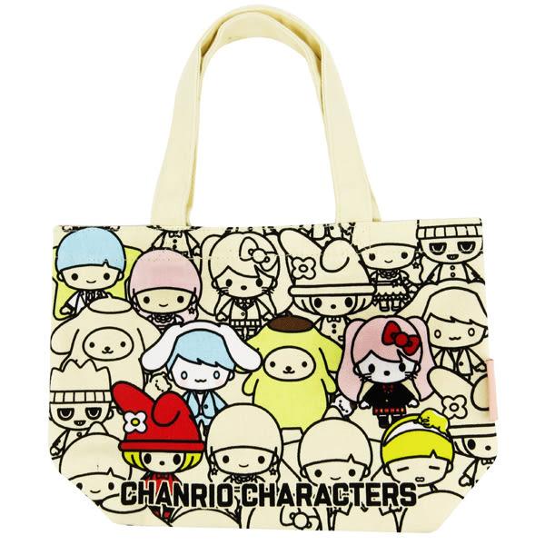三麗鷗手提袋 滿版Sanrio大集合帆布實用迷你提袋/手提袋/帆布袋 [喜愛屋]