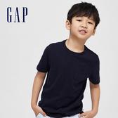 Gap 男童 休閒純色短袖圓領口袋T恤 419978-深藍色