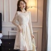 優雅微透感蕾絲袖珍珠點綴刺繡羽毛輕柔長袖洋裝[98893-QF]小三衣藏