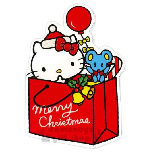 〔小禮堂〕Hello Kitty 造型耶誕卡片《紅綠.紙袋》賀卡.聖誕卡.聖誕送禮 4714581-10645