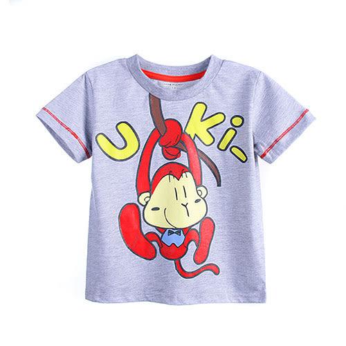 歐美風格兒童純棉短T-頑皮猴子