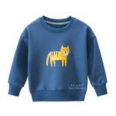 動物圖案加絨長袖上衣 藍色老虎 童裝 T-shirt