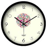 雙12狂歡購 卡通藝術掛鐘兒童房創意靜音簡約現代客廳圓形大號鐘錶