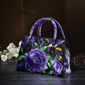 刺繡包民族風包包2020中年女包小包繡花刺繡斜背包手提包側背包帆布新年禮物