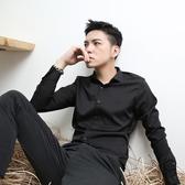 伊人閣 職業襯衫男長袖休閒黑色打底襯衣