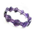 秀氣紫晶手排與小圓珠彈性手環