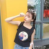 夏裝女裝日系字母印花顯瘦無袖T恤背心短款學生打底衫體恤上衣潮·Ifashion