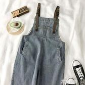 HXT泫雅風牛仔背帶褲女2020新款韓版寬鬆百搭直筒九分褲子潮學生『艾麗花園』