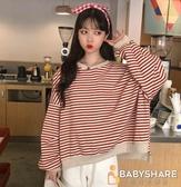 BabyShare時尚孕婦裝【SEP3830 】休閒風紅磚色條紋前短後長修身T  可愛休閒風 前短後長設計