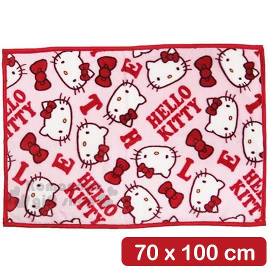 〔小禮堂〕Hello Kitty 隨身披肩毯《紅.字母.大臉.滿版》70x100cm 4992272-59539