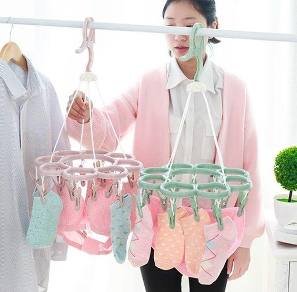 預購-居家多功能曬衣夾曬襪子架