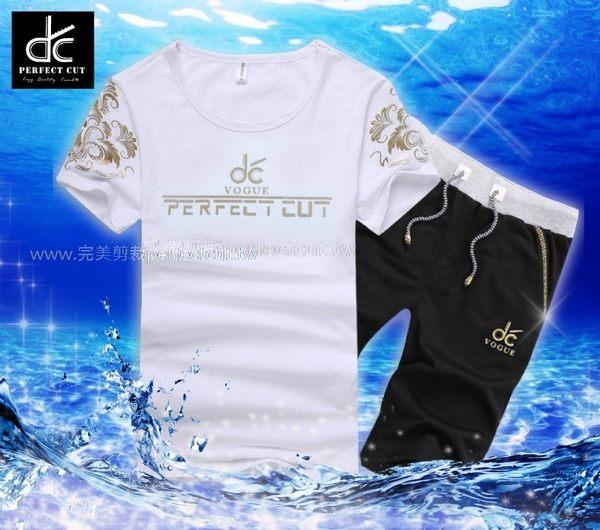 【完美剪裁獨家款 】燙金潮流短袖運動套裝《P5023 》
