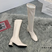 騎士靴女長靴不過膝高跟長筒靴子秋冬【時尚大衣櫥】