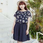 Poly Lulu 夏日浪漫花卉兩穿領型小洋裝-深藍【92310172】