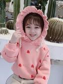 女童連帽T恤 女童秋冬裝加絨加厚連帽T恤2019新款兒童韓版連帽上衣寶寶洋氣連帽T恤潮 果寶時尚