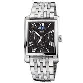 Oris豪利時 Rectangular 月相經典機械錶-黑x銀/33x46mm 0158176584074-0782382