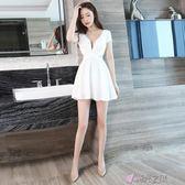 夜店洋裝性感2018新款顯瘦夏季低胸洋裝夏裙子遮肚短裙 時光之旅 免運