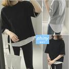 【V0806】shiny藍格子-簡約春感.假二件圓領寬鬆短袖上衣