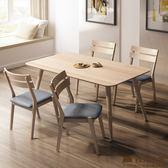 日本直人木業-日式全實木四張線條椅搭配165公分全實木餐桌(高級山毛櫸實木)