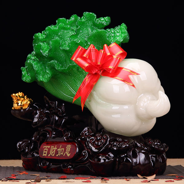招財玉白菜擺件 酒櫃家居客廳裝飾品擺設開業禮品 辦公室工藝品 生日禮物 創意