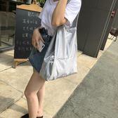 托特包  包包女簡約時尚大容量托特包銀灰色防水pvc單肩大包包女 『伊莎公主』