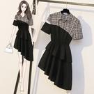 襯衫洋裝 不規則裙子 M-4XL減齡洋氣時髦拼接顯瘦遮肚襯衫連身裙3F016.821 依品國際