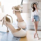 高跟鞋女夏季新款韓版包頭涼鞋百搭一字扣帶蝴蝶結細跟大小碼【非凡】