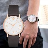 EMPORIO ARMANI 亞曼尼 AR11011 純淨低調皮革腕錶 熱賣中!
